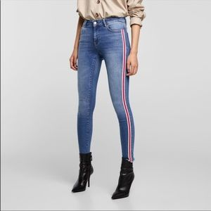 Zara Denim w/ Red Stripe